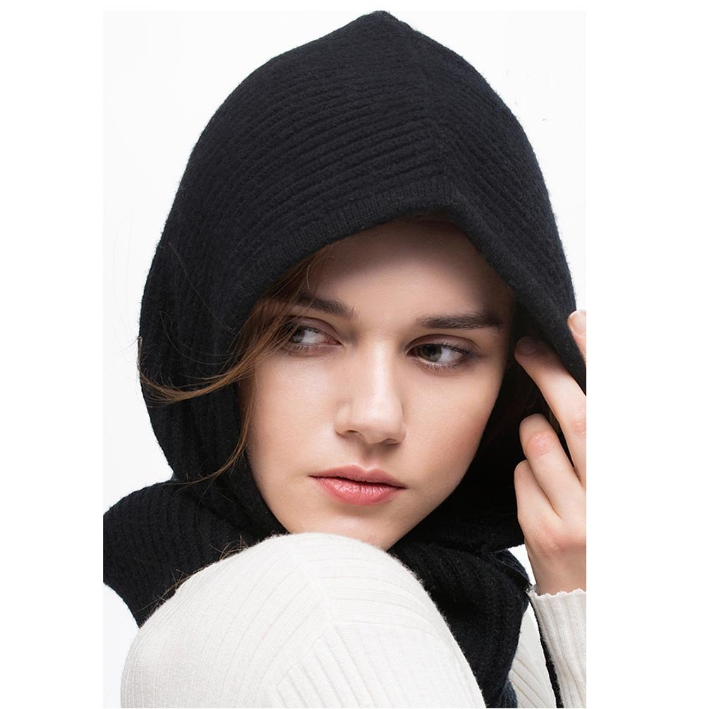 Hooded Scarf Women Men Cashmere Blending Soft Cozy Windproof Black Hat Fall Winter Outdoor Sports Cycling Skiing Camping (Black) by FINCATI (Image #2)