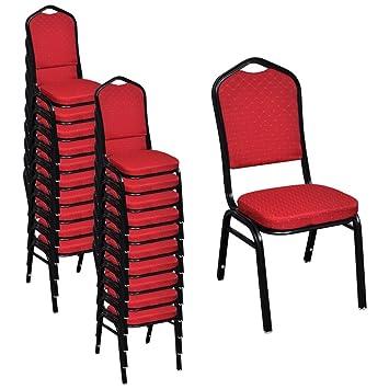 Festnight Lot de Chaises de salle à manger avec rembourrée Rouge ...