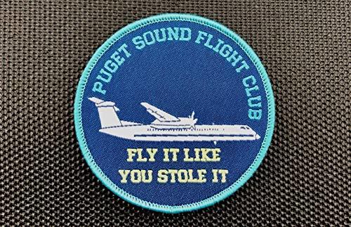 (BritKitUSA Puget Sound Flight Club Woven Morale Patch Sky King Alaska Airlines Hook & Loop )