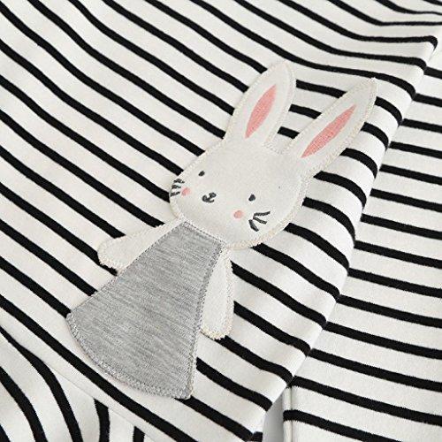 Amlaiworld Baby kleid tops Mädchen warm gestreift langarmshirt kleider bunt Niedlich Karikatur Hase Flickwerk Freizeit kleidung,1-6 Jahren Weiß