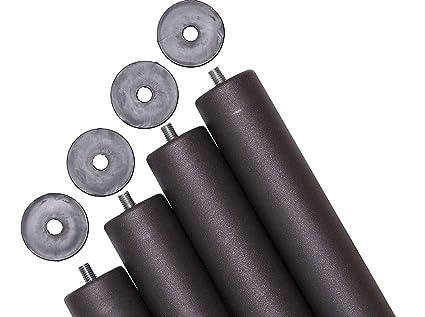 Pack 4 patas para somier o base tapizada cilindricas, altura especial 40 cm