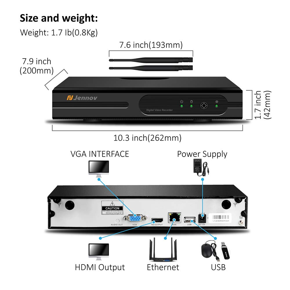 【Newest Strong WiFi Arrival】Jennov Security Camera System Outdoor Wireless 4 Channel HD 1080P WiFi Home IP Video Surveillance Night Vision NVR Kit With Pre-installed 1TB Hard Drive Free Remote Access by Jennov (Image #4)