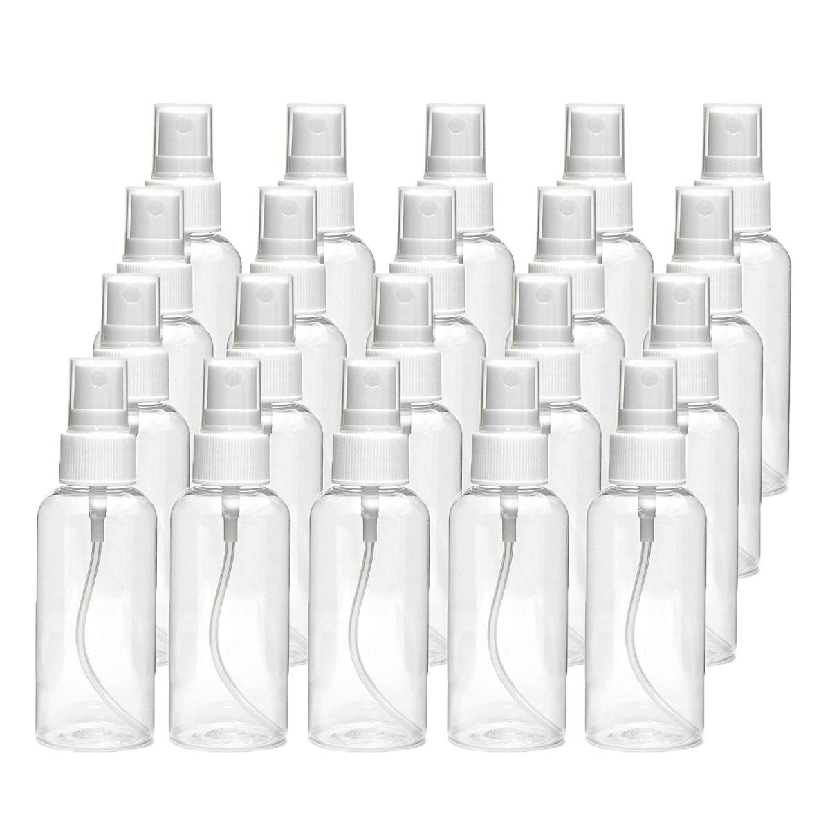 20 PCS 30 ml(1oz) Clear Plastic Mist Spray bottle,Transparent Travel Bottle,Portable Refillable Spray Sprayer Bottle for Travel, Cleaning, Essential Oils