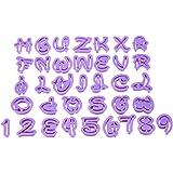36pcs Fondant Cake Decoration Tools Disney Font Alphabet Cutter Number Letters Cutter Set Cookie Cutter