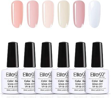 Elite99 Manicura Francesa Semipermanente Kit, 6 Colores de Esmaltes de Uñas Semipermanentes en Gel UV LED 10ML con Pegatina: Amazon.es: Belleza