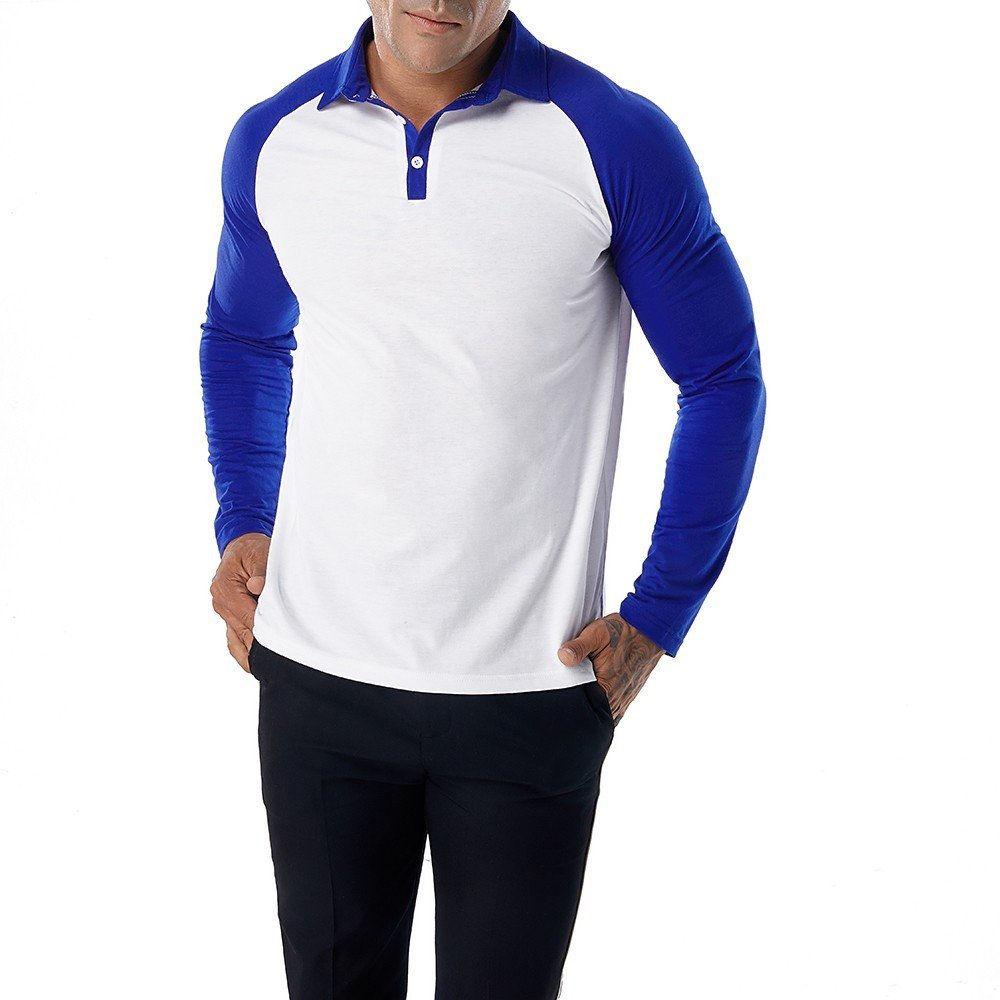 Polo Shirts For Men, Clearance Sale !! Farjing Men's Casual Patchwork Slim Long Sleeve T Shirt Muscle Top Blouse Polo shirt(XL,Blue)