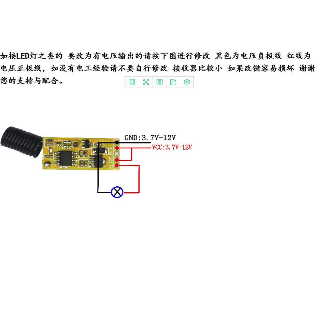 5V 12V 36V Interruptor de Control Remoto Inal/ámbrico 433mhz 2 botones con M/ódulos de Receptor de Control Remoto Baoblade 2 Unids DC 3V