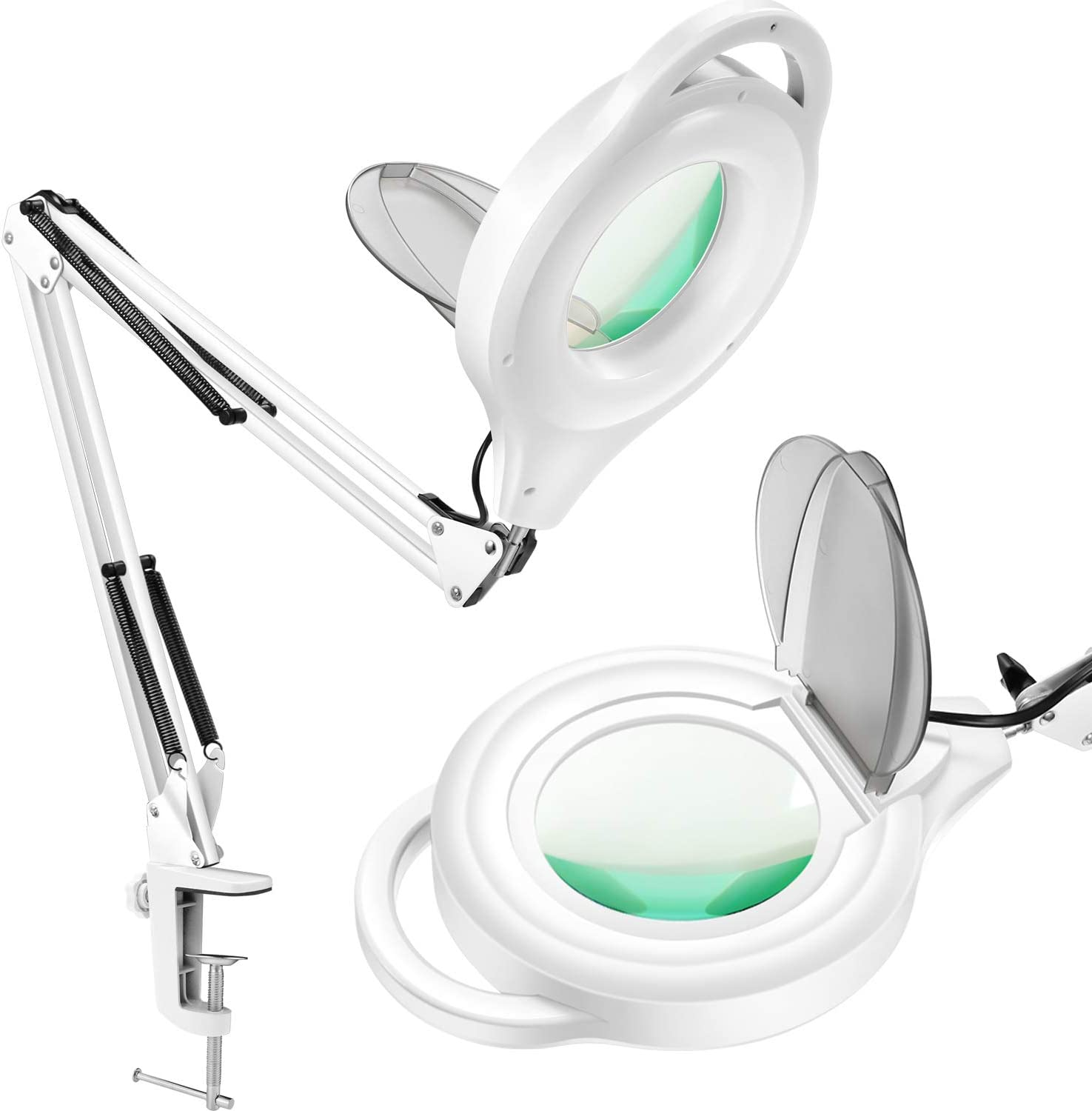 TOMSOO LED Dimmable Magnifying Lamp with Clamp – 1,200 Lumens Bright Lighted 5-Diopter Real Glass Magnifier with Adjustable Swivel Arm, Daylight Light for Reading, Craft, Hobby, Close Work, Workbench