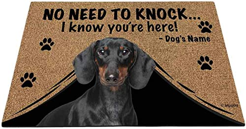 BAGEYOU Personalized Dog s Name Outdoor Doormat with My Love Dog Dachshund Welcome Floor Mat Not Need to Knock I Know You re Here 35.4 x 23.6