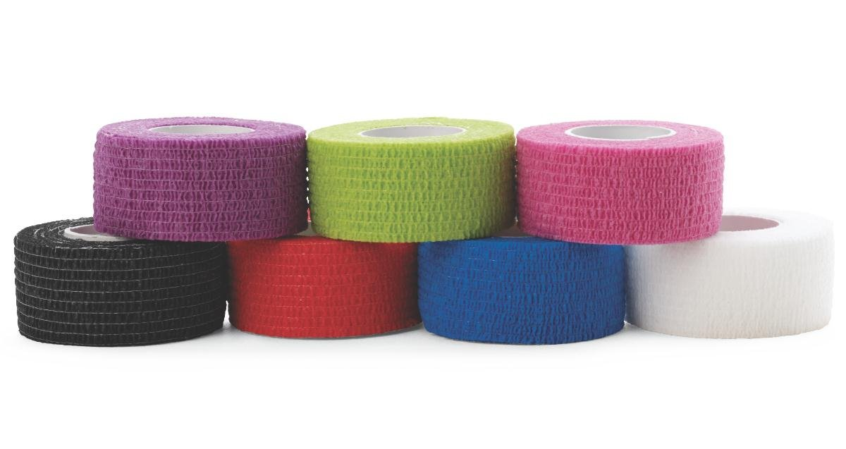 Medline Caring Self-Adherent Cohesive Wrap Bandage, Non-Sterile, Latex-Free, Assorted Color Pack, 1'' x 5 yd (Case of 30)
