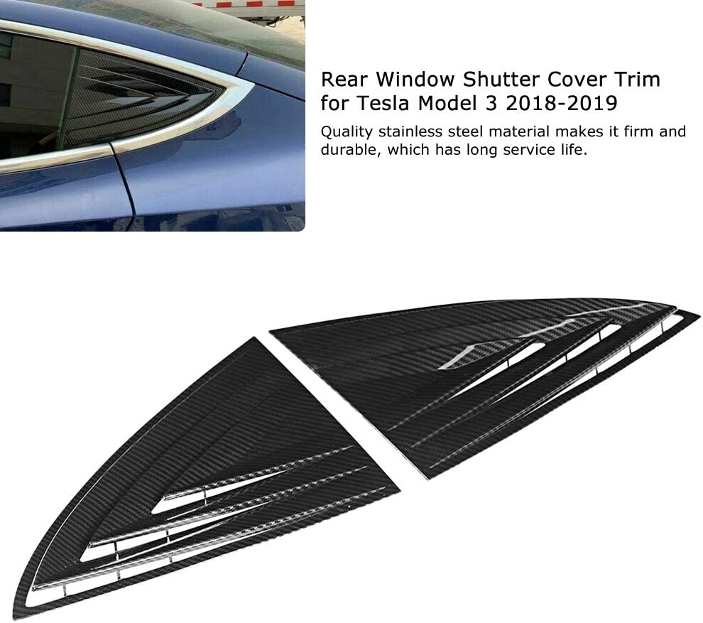 Rear Shutters Cover Trim,2 Pcs Black Rear Window Louver Shutter Cover Trim Car Rear Shutters Cover Decoration for Tesla Model 3 2018-2019 Car Interior Accessories