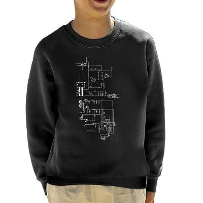 Computer Schematics Playstation 1 Kid's Sweatshirt