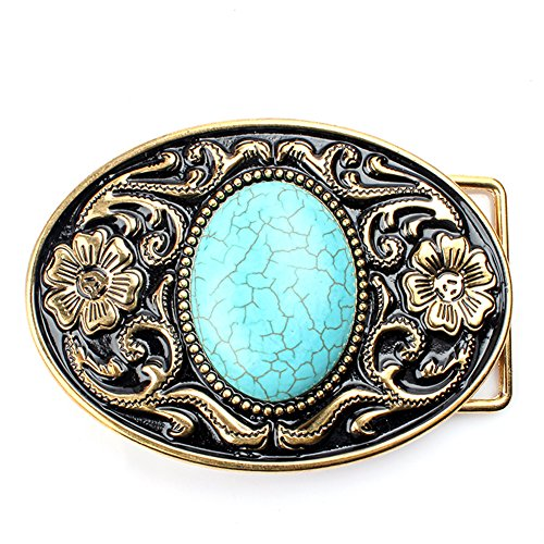 Belt buckle, Western cowboy Turquoise Stone belt buckle for leather ()