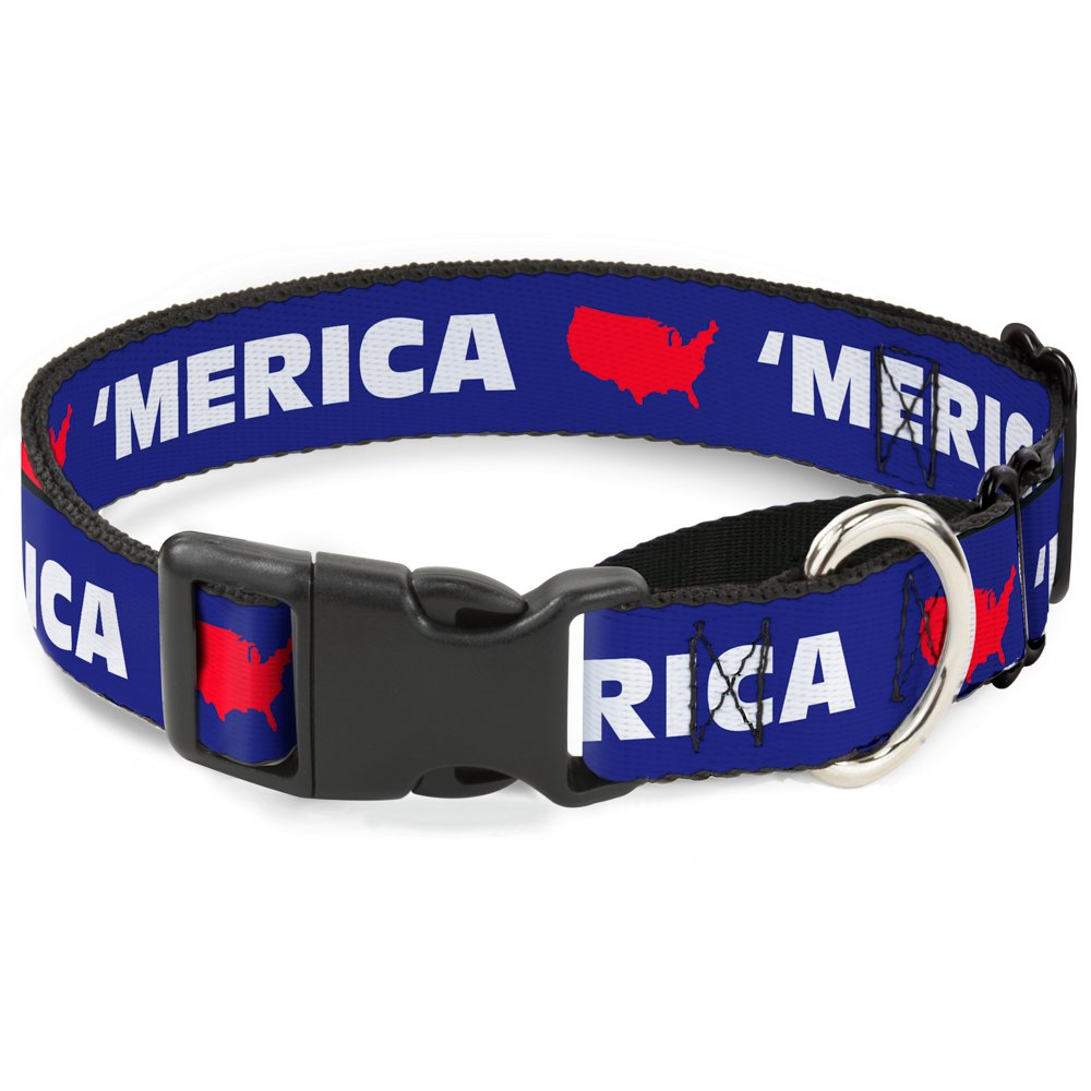 Buckle-Down Merica USA Silhouette bluee White Red Martingale Dog Collar, 1  Wide-Fits 11-17  Neck-Medium