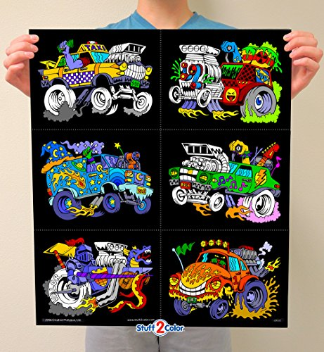 Stuff2Color Monster Cars Fuzzy Poster 6-Pack -