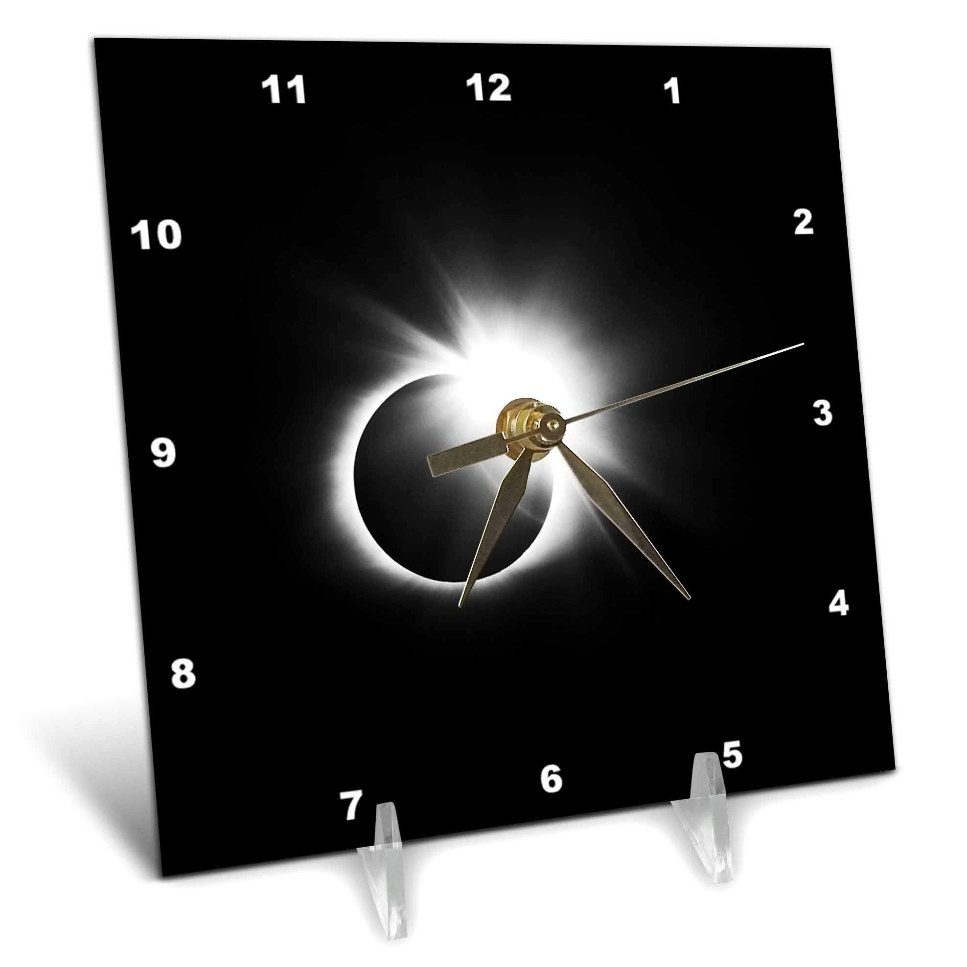 3dRose Stamp City - Astronomy - Photograph of The 2017 Solar Eclipse. Capture of The Diamond Ring. - 6x6 Desk Clock (dc_290787_1)