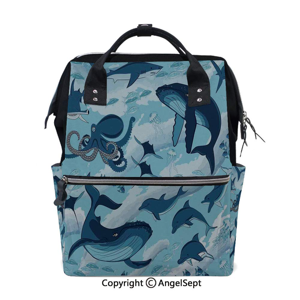 Multi-Function Waterproof Maternity Baby,Inhabitants of Sea Whales Dolphins Octopus Jellyfish Starfish with Waves Image Blue,15.7 inches,for Boy/Girl On Travel with Stroller Straps by oobon