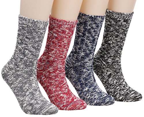 Price comparison product image Galsang 4 Pairs Womens Thick Winter Wool Cotton Crew Knit Socks Colorful A152 (mixed color)