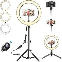 Selfie ringlamp statief met 3 kleuren en 10 helderheidsniveaus, tafelringlicht met afstandsbediening, led-ringlamp voor…