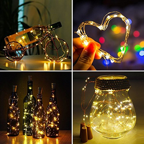 Wine Bottle Light Cork Light, 20 LED Light Strings, Button Battery Powered - 8 Packs, DIY Mini Lights, Wedding, Christmas, Halloween, Party Decorations or Festive Atmosphere Lights (Warm White)
