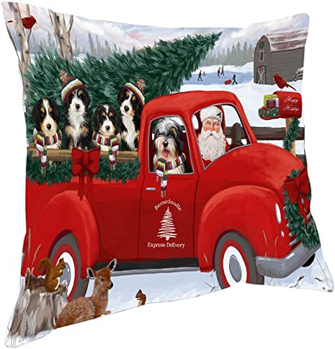 Doggie of the Day Christmas Santa Express Delivery Bernedoodles Dog Family Pillow PIL76400 18×18