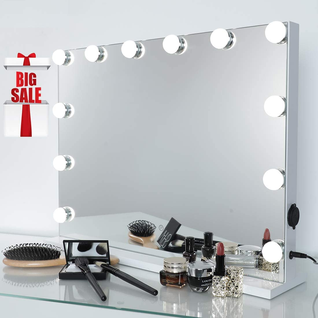 iCREAT Hollywood Makeup Mirror, Lighted Vanity Mirror, Cosmetic Mirror with 12 Dimmable Bulbs, Touchscreen Control Mirror with USB Outlet, White H16.93 x W22.83