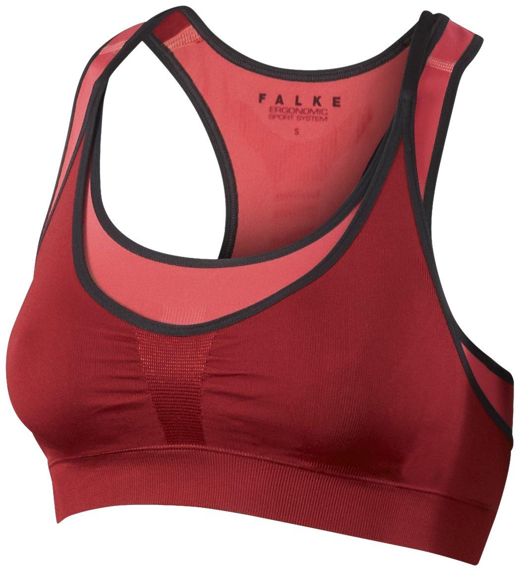 FALKE Sport Bh Bra-Top Medium Support - Ropa interior deportiva para mujer, color rojo, talla S