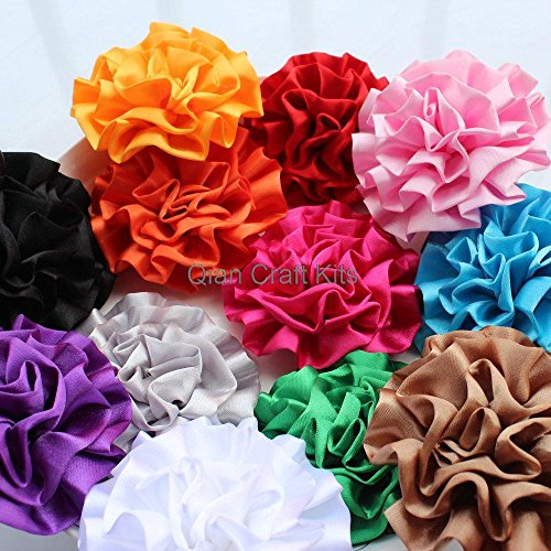 50pcs mix color Large Satin Rolled Rose Rosettes- fabric flowers, satin flower, DIY headband supplies, accessory 2.7
