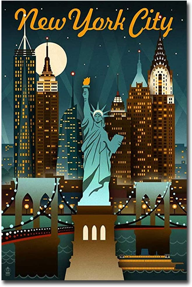 "New York City Travel Vintage Art Refrigerator Magnet Size 2.5"" x 3.7"""