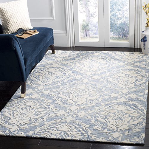 Safavieh Blossom Collection BLM107B Floral Vines Blue and Ivory Premium Wool Area Rug (8' x 10' )