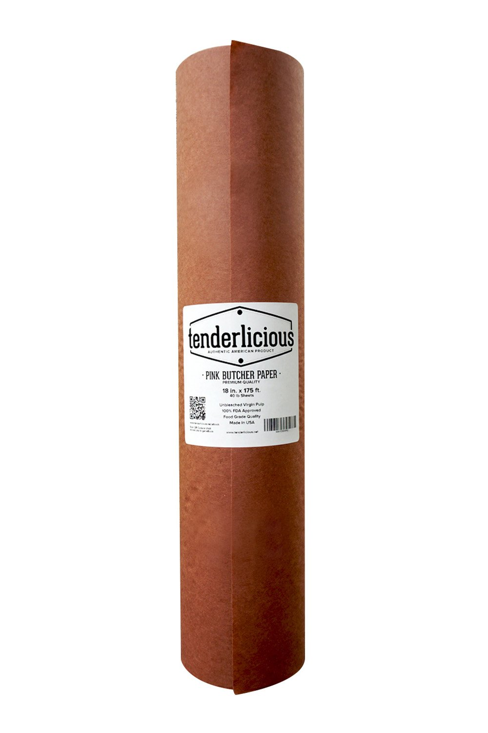 Pink Butcher Kraft Paper Roll - 18 '' x 175' (2100'') Peach Wrapping Paper for Beef Briskets - USA Made - All Natural FDA Approved Food Grade BBQ Meat Smoking Paper - Unbleached Unwaxed Uncoated Sheet