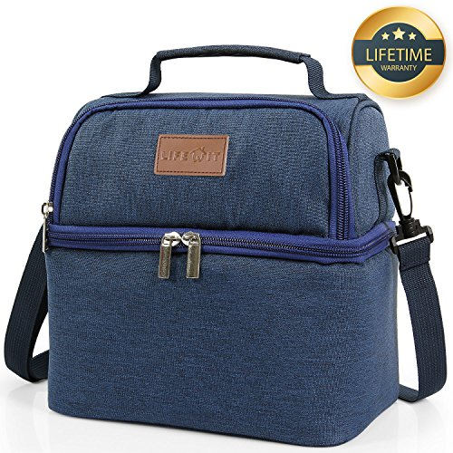 Lifewit Insulated Lunch Box for Adults / Men / Women / Kids, Thermal Lunch Bag , Cool Bento Bag for Office / School / Picnic, 7L, Dual Compartment, - Hot Office Men