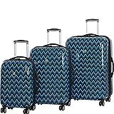 it luggage Virtuoso Hardside 3 Piece ''Print'' Luggage Set, Peacoat Blue Double Chevron