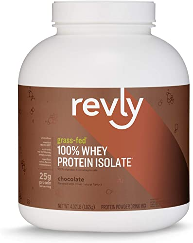 Amazon Brand – Revly 100 Grass-Fed Whey Protein Isolate Powder, Chocolate, 4.02 Pound Value Size 57 Servings , Gluten Free, Non-GMO, Satisfaction Guaranteed