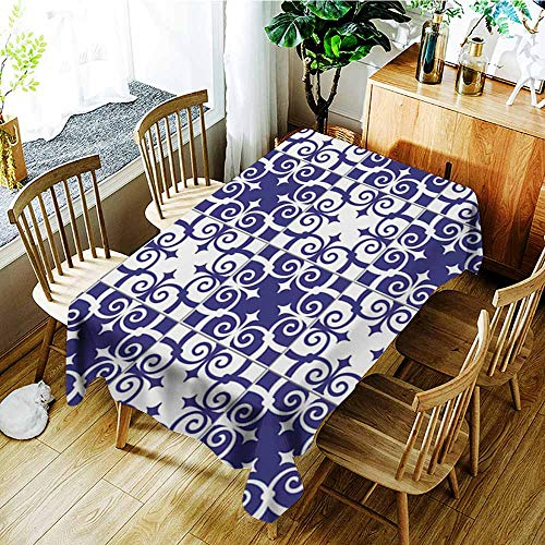 Custom tablecloth,Gorgeous seamless pattern white blue Moroccan Portuguese