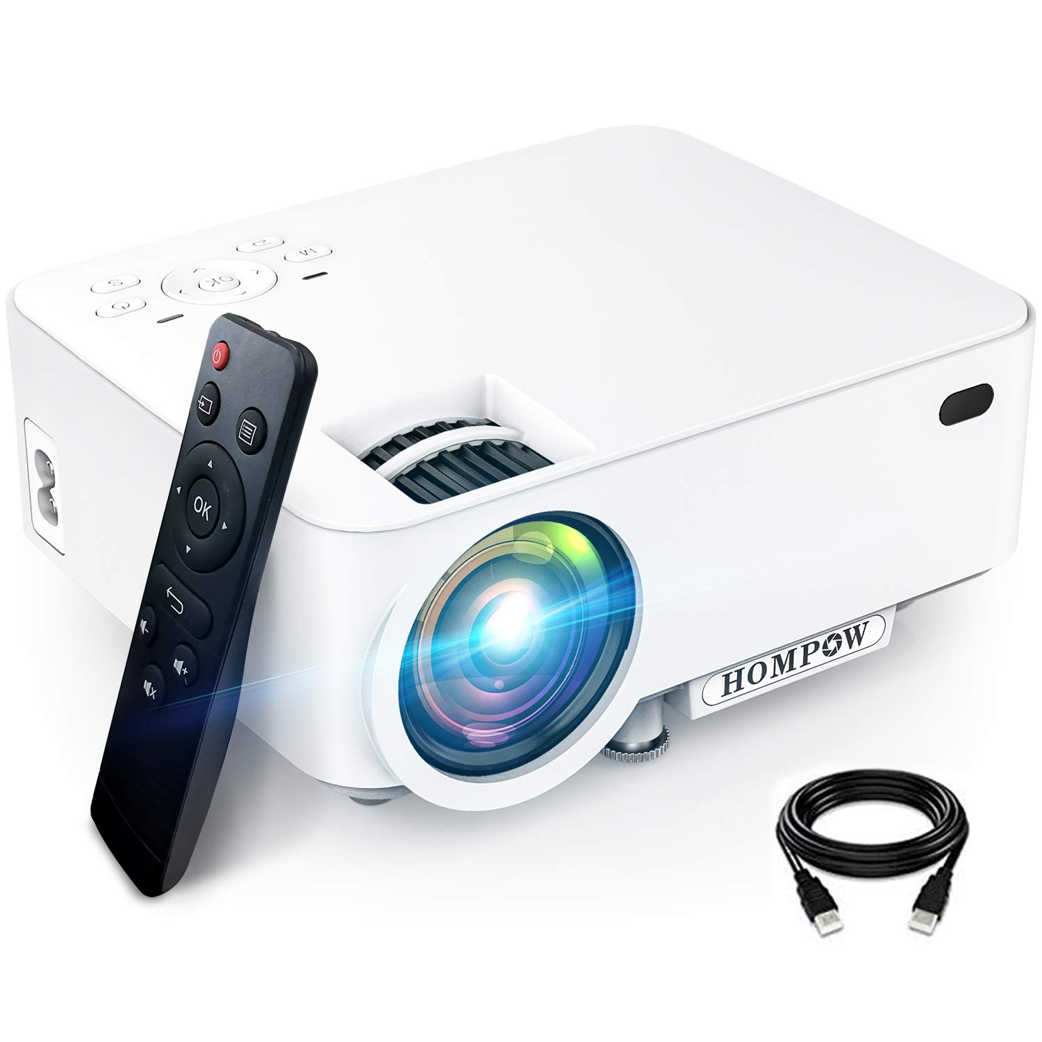 """Mini Projector, Hompow High Brightness Movie Projector, Smartphone Portable Video Projector 1080P Supported and 176"""" Display, Compatible with TV Stick/HDMI/VGA/USB/TV Box/Laptop/DVD/PS4 for Home"""