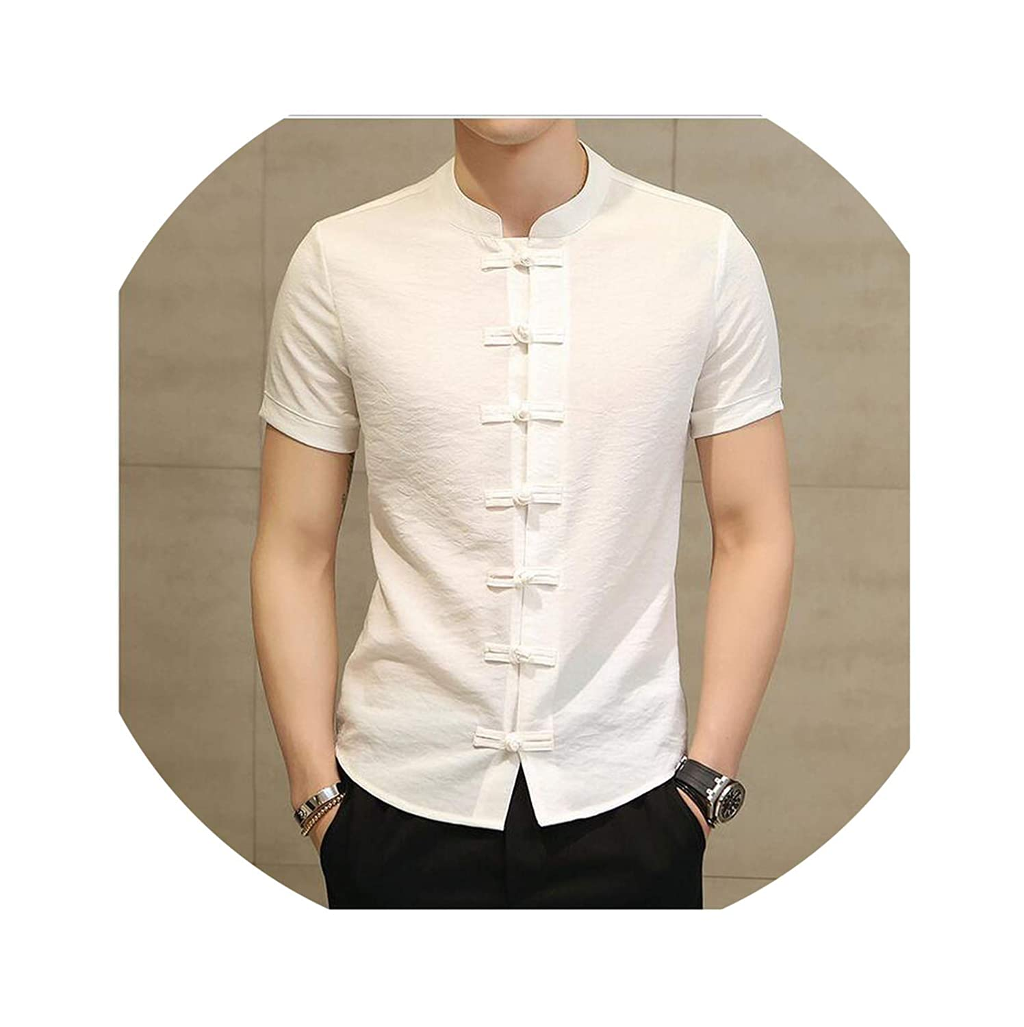 FULLINE 2019 Summer Men Shirt Chinese Style Linen Slim Fit Casual Short Sleeves Shirt