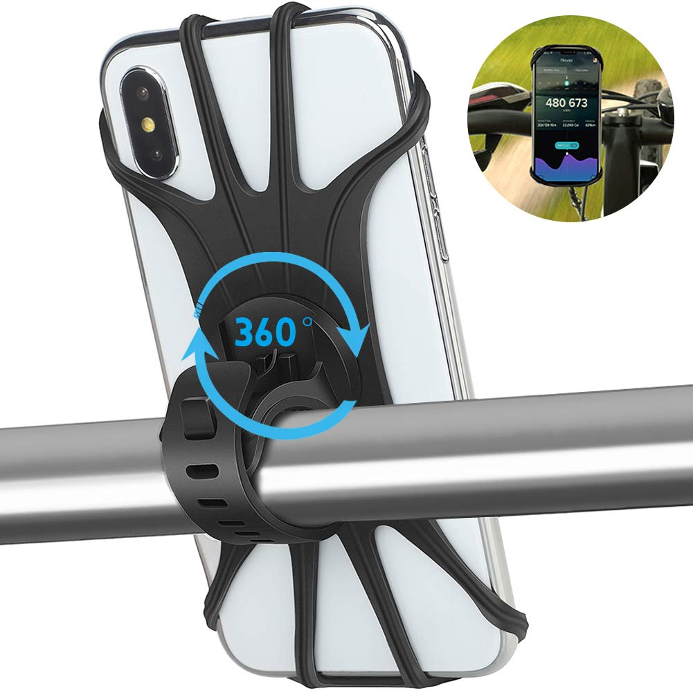 """AONKEY Universal Bike Phone Mount, Silicone Holder Adjustable for Bicycle Handlebar fits iPhone Xs Max/XS XR X/6S/7/8 Plus, Galaxy S10+/S10/S10e/S9+/S9/S8, 4.0""""~6.5"""" Cell Phones Mountain Road Cycling"""