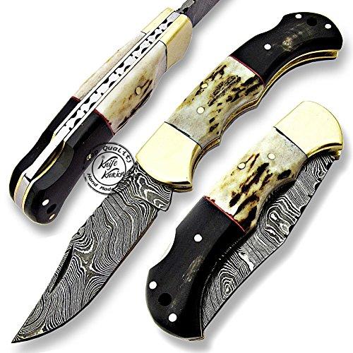 Stag Horn & Buffalo Horn 6.5'' 100% Handmade Damascus Steel Folding Pocket Knife 100% Prime Quality ()