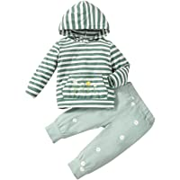 Toddler Baby Girl Clothes Long Sleeve Striped Sweatshirts Tops Daisy Print Pants Cute Winter Girls Outfits Hooded Set