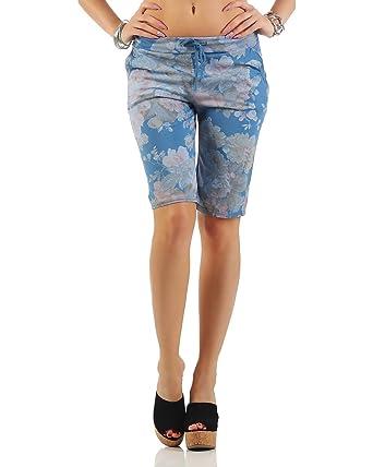 Zarmexx Trendy Femmes Shorts Pantalon de survêtement Bermudes Court Sport Loisirs  Pantalons Coton Floral (Taille ae9c4f5d5b3