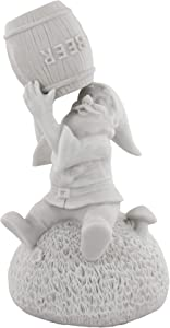 """Gnometastic Gnude Gnomes - Unpainted Beer Guzzling Garden Gnome Statue, 8.45"""" Tall/DIY Paint Your Own Gnome"""