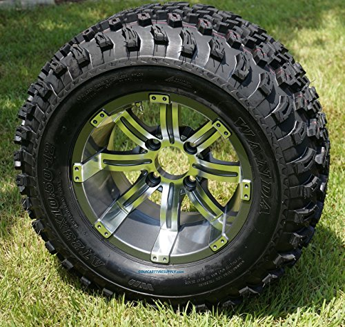 "12"" Tempest Gunmetal Aluminum Wheels and 23X10.5-12 All Terrain Golf Cart Tire Combo - Set of 4"