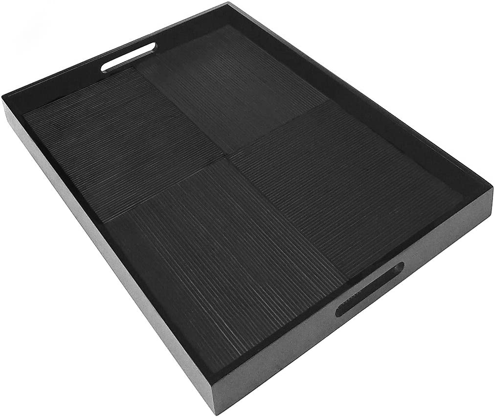 Simply Bamboo Black Extra Large Rectangle Ribbed Bamboo Serving Tray   Decorative Platters for Ottoman   Kitchen TableTop   Coffee Tray - 23