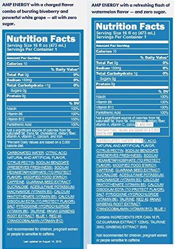 Amazon.com: Amp Energy Zero Bundle of 12/16 Oz Cans: 6 Watermelon 6 Blueberry White Grape: Health & Personal Care