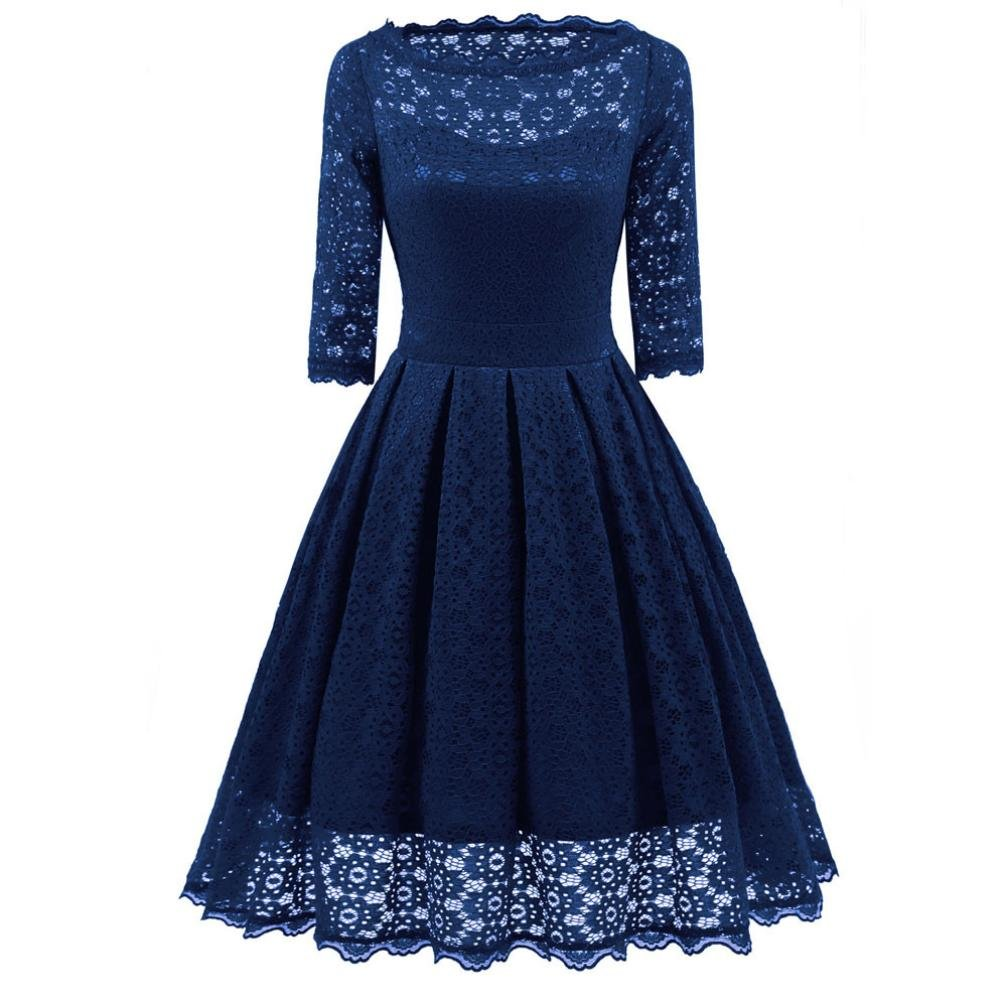 Women Long Dress Daoroka Women's Sexy New Vintage Lace Half Sleeve Formal Patchwork Wedding Dress Cocktail Retro Swing Evening Party Skirt Fit Flare Ladies Casual Fashion Gift Fit Dress (L, Blue) by Daoroka Women Dress