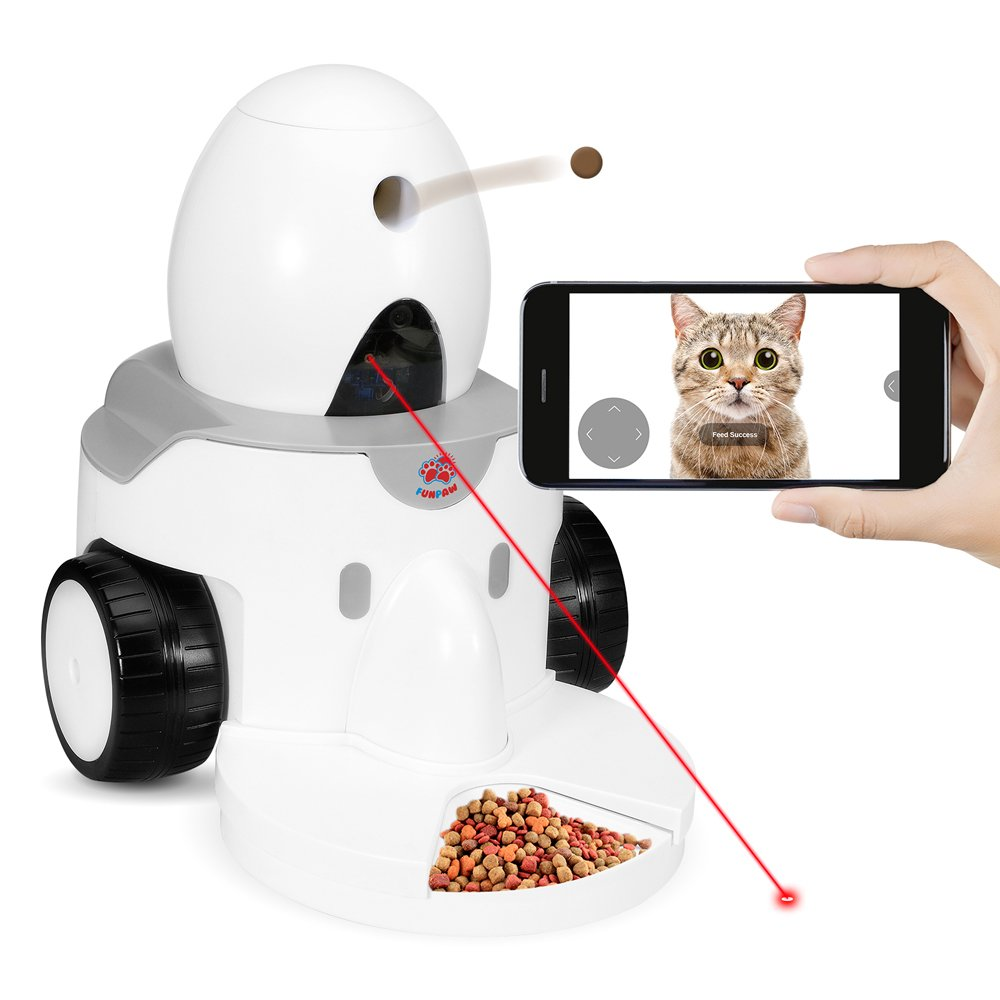 FUNPAW Playbot Q Pet Camera Pet Feeder Play Video Chat Feed Your Cat Dog from Anywhere; Fully Mobile