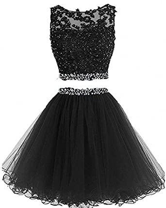 eb87fca297f Dydsz Women s Prom Dress Short Homecoming Party Dresses 2 Piece Beaded  Cocktail Gown D127 Black 2