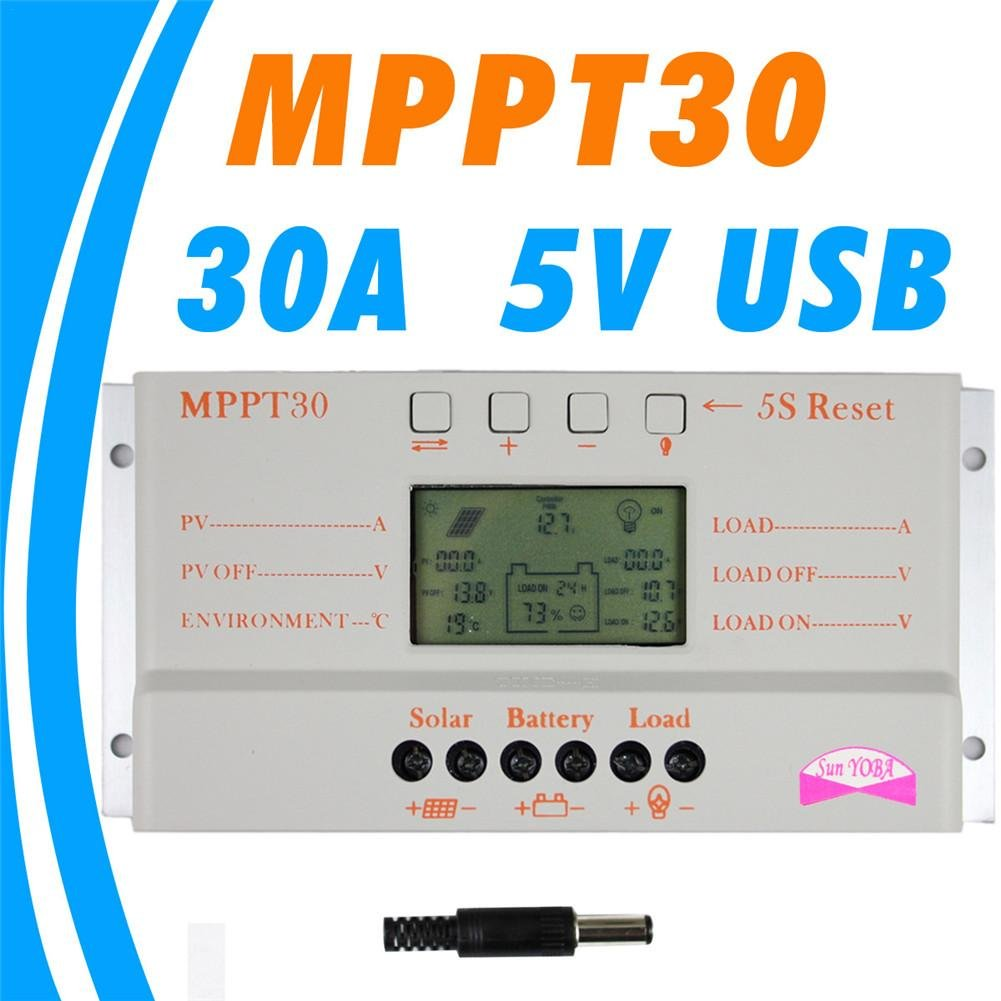 MPPT 30A LCD Solar Charge controller 12V 24V auto switch LCD display MPPT30 Solar charge controller MPPT 30 charger controller Ksruee