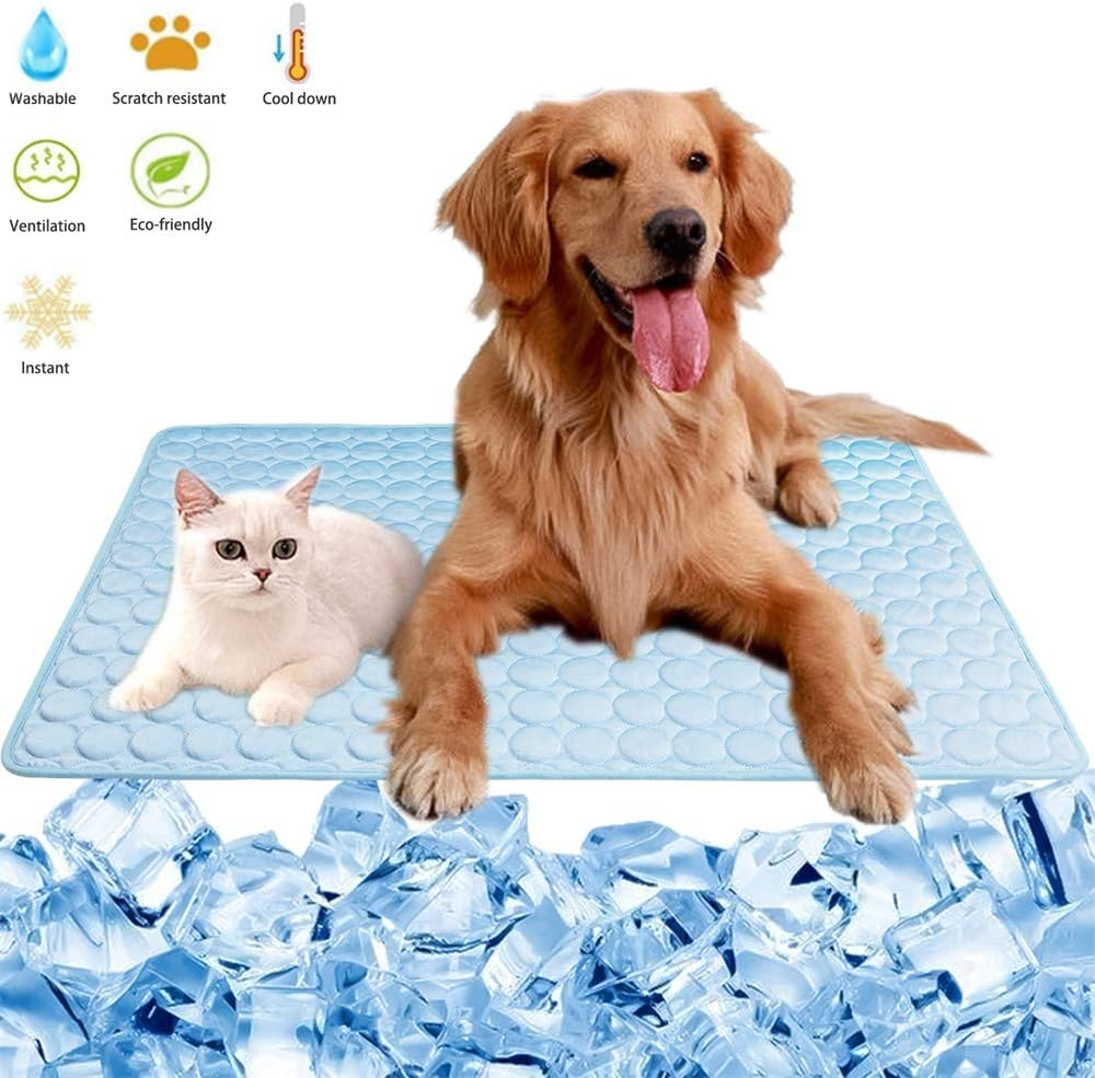 YYYux Summer Cooling Mat for Pet Dogs Cats Ice Silk Self Cooling Mat Washable Mat Breathable Cooling Blanket Portable Pet Crate Pad Cushion for Sofa Bed Floor Car Seats Travel